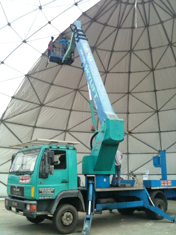 30m skylift for constructing canopy