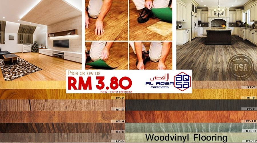 WOOD VINYL FLOORING! CHEAPEST IN TOWN! JUST FROM RM=3.80/SQFT – BETTE