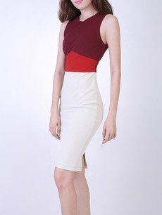 NOELLE COLOR BLOCK PANEL DRESS