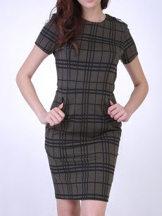 JAKOBA GRID TEXTURE SLEEVE DRESS