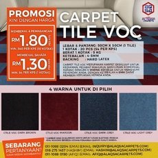 LOWEST PRICE EVER CARPET TILE ONLY FROM RM1.30/kps